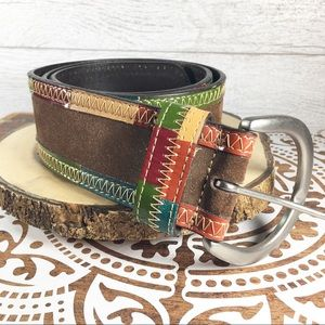 Fossil Suede Belt w/multicolored leather trim